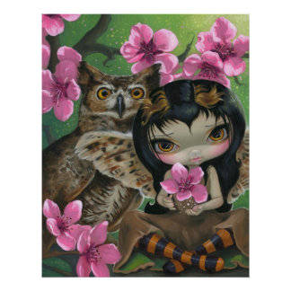 Owlyn in the Springtime ART PRINT Owl Fairy Spring