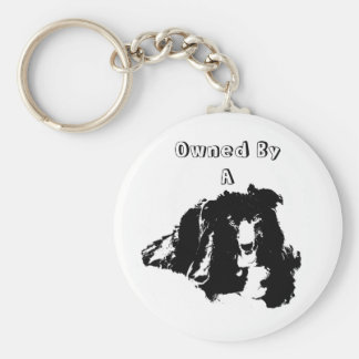 Owned By A Border Collie Cute Dog Keychain