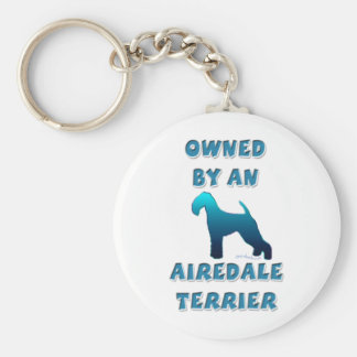 Owned by an Airedale Terrier Basic Round Button Keychain