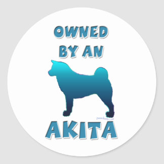 Owned by an Akita Round Sticker