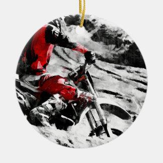 Owning The Mountain  -  Motocross Dirt-Bike Racer Ceramic Ornament