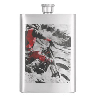 Owning The Mountain  -  Motocross Dirt-Bike Racer Hip Flask
