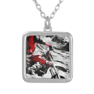 Owning The Mountain  -  Motocross Dirt-Bike Racer Silver Plated Necklace