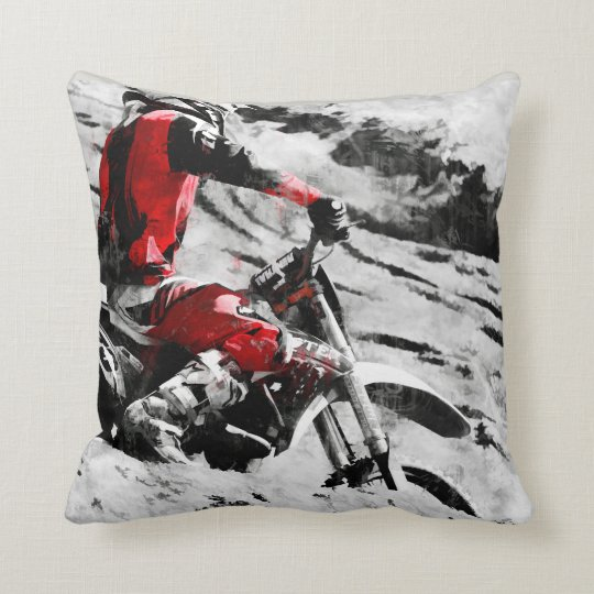 Owning The Mountain  -  Motocross Dirt-Bike Racer Throw Pillow