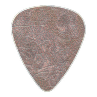 Ox Blood Leather Fine Grain Burnt Red Brown Pearl Celluloid Guitar Pick