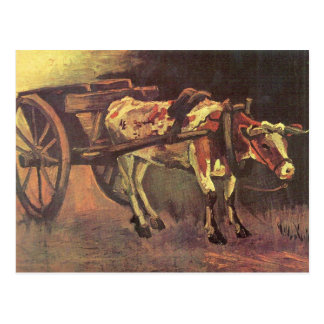Ox carts with brown Ox by Vincent van Gogh Postcard