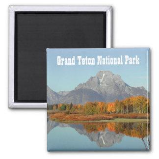 Oxbow Bend, Mount Moran Reflection, Grand Teton NP Square Magnet