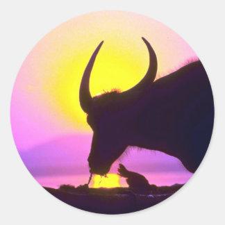 Oxen at sunset, Burma Round Sticker