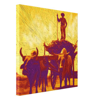 Oxen Cart Hauling Sugar Cane Canvas Print