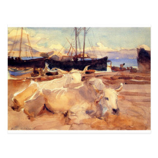 Oxen on the Beach at Baia by John Singer Sargent Postcard