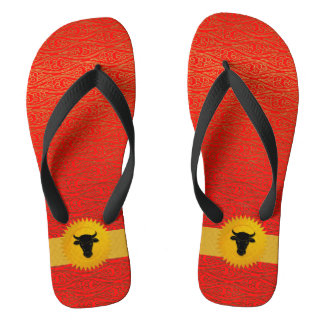 Oxen or Cow Chinese Zodiac Year Of Red and Black Flip Flops