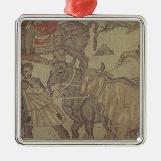 Oxen transporting water, Roman mosaic Silver-Colored Square Ornament