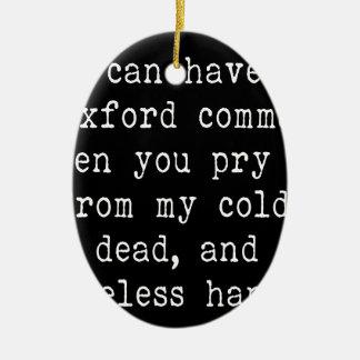 Oxford Comma Ceramic Oval Ornament