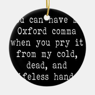 Oxford Comma Round Ceramic Ornament
