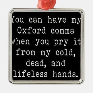 Oxford Comma Silver-Colored Square Ornament