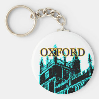 Oxford England 1986 Building Spirals Cyan Basic Round Button Keychain