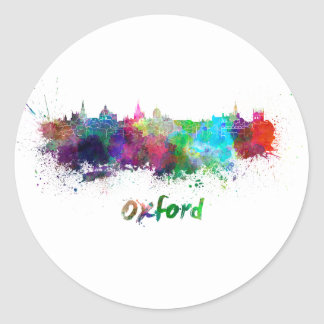 Oxford skyline in watercolor classic round sticker