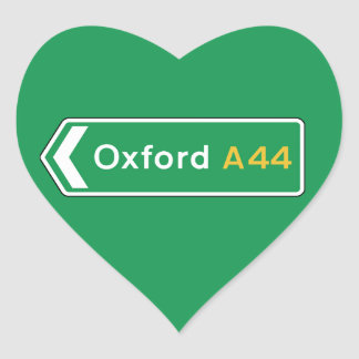 Oxford, UK Road Sign Heart Sticker