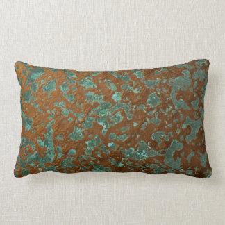 Oxidized Eroded Copper Metal Look Patina Texture Lumbar Pillow