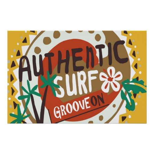 Oxygentees Authentic Surf Groove On Poster