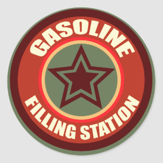 Oxygentees Gasoline Filling Station Classic Round Sticker