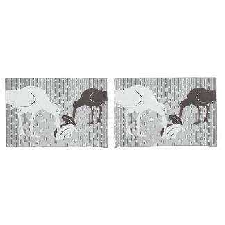 Oyster-Catcher, Monochrome Grey Design-Pillow Case Pillowcase