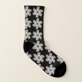 Oyster Flower Socks - Design A Black 1