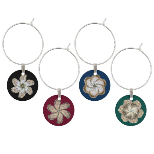Oyster Flower Wine Charms Dark Colours - Set of 4