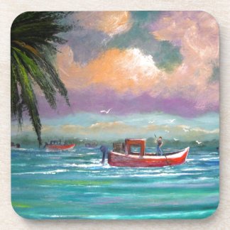 Oyster harvesting in Apalachicola Bay Drink Coaster