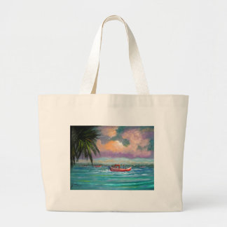 Oyster harvesting in Apalachicola Bay Large Tote Bag