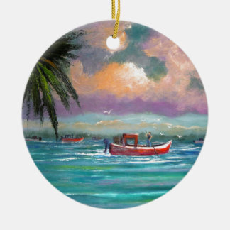 Oyster harvesting in Apalachicola Bay Round Ceramic Ornament