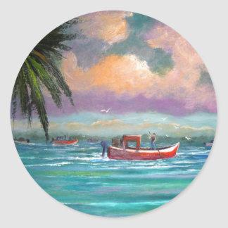Oyster harvesting in Apalachicola Bay Round Sticker