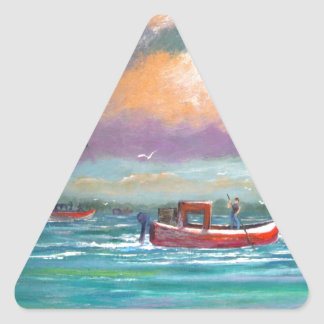 Oyster harvesting in Apalachicola Bay Triangle Sticker
