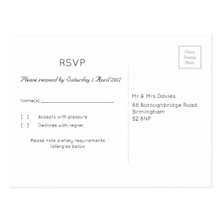 Oyster/Mink 'Tree' Wedding RSVP Postcard