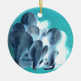 Oyster Mushrooms in Blue Ceramic Ornament