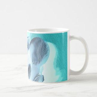 Oyster Mushrooms in Blue Coffee Mug