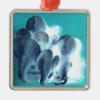 Oyster Mushrooms in Blue Metal Ornament