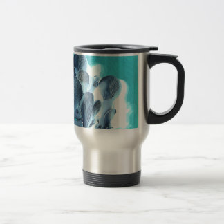 Oyster Mushrooms in Blue Travel Mug