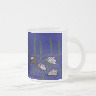 oysters frosted glass coffee mug
