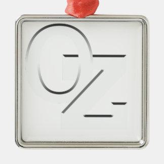 OZ - Australia white on black Silver-Colored Square Ornament