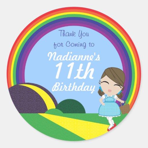 Oz BIRTHDAY custom Dorothy keepsake labels Round Stickers