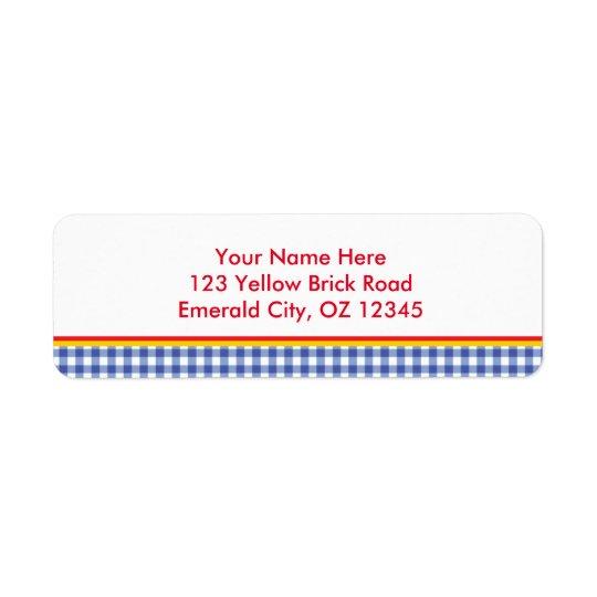 Oz Blue Gingham Birthday Party Address Labels
