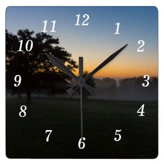 Ozarks August Dawn Square Wall Clock