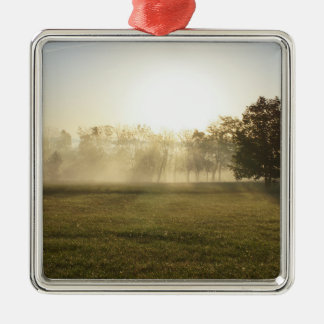 Ozarks Morning Fog Silver-Colored Square Ornament