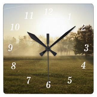 Ozarks Morning Fog Square Wall Clock