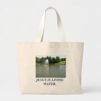 P1010014, JESUS IS LIVING WATER. JUMBO TOTE BAG