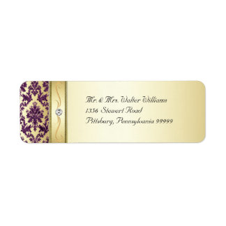 P1 Elegant Gold Purple Damask Diamond Label Return Address Label