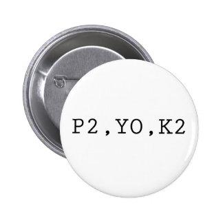 P2, YO, K2 2 INCH ROUND BUTTON