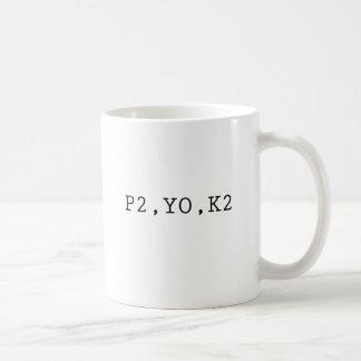 P2, YO, K2 CLASSIC WHITE COFFEE MUG
