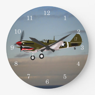 P40 Warhawk 1943 Tunisia Large Clock